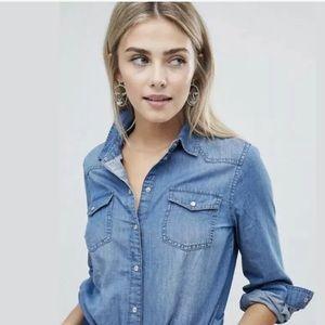 ASOS Blue Chambray Denim Snap Button Down Shirt 10